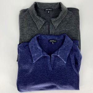 SLINKY BRAND-Size 2X- A V-Neck Blue & Grey Top